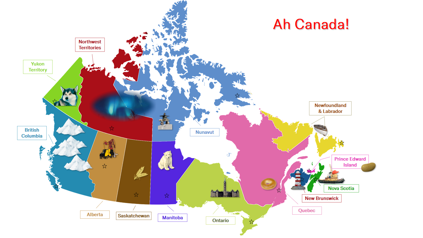 Ah Canada title with a colourful map of the country and images symbolizing each province